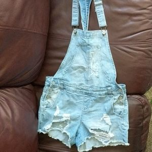 Distressed Jean shorts coveralls
